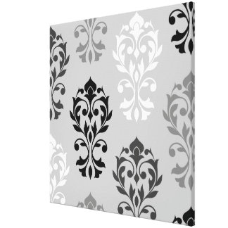Heart Damask Art I Black Greys White Stretched Canvas Print