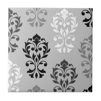 Heart Damask Art I Black Greys White Tile