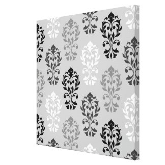 Heart Damask Art Ib Black Greys White Stretched Canvas Print