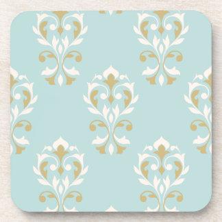Heart Damask Big Ptn Cream & Gold on Blue Coaster