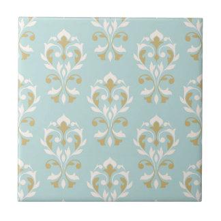 Heart Damask Big Ptn II Cream & Gold on Blue Ceramic Tile