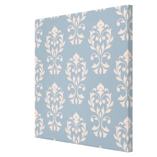 Heart Damask Big Ptn II Pink on Blue Canvas Print
