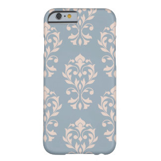Heart Damask Lg Ptn II Pink on Blue Barely There iPhone 6 Case