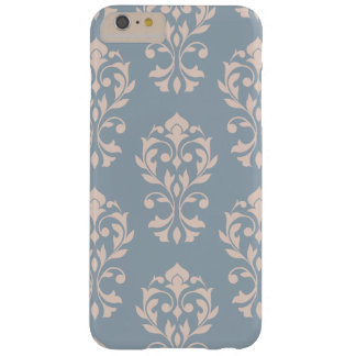 Heart Damask Lg Ptn II Pink on Blue Barely There iPhone 6 Plus Case