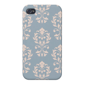 Heart Damask Lg Ptn II Pink on Blue Covers For iPhone 4