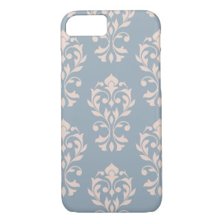 Heart Damask Lg Ptn II Pink on Blue iPhone 8/7 Case