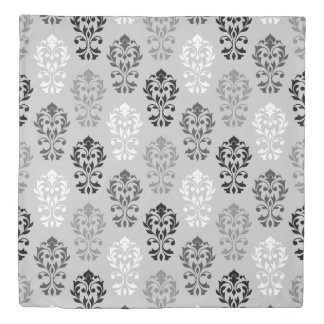 Heart Damask Pattern BW & Grays Duvet Cover