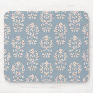 Heart Damask Ptn II Pink on Blue Mouse Pad
