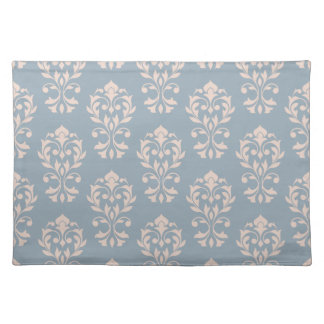Heart Damask Ptn II Pink on Blue Placemat