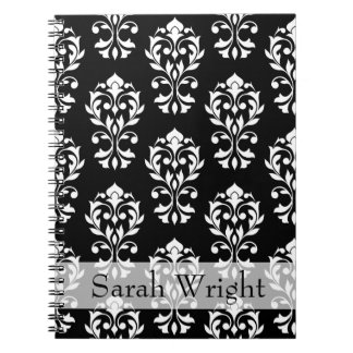 Heart Damask Ptn II White on Black (Personalized) Notebook