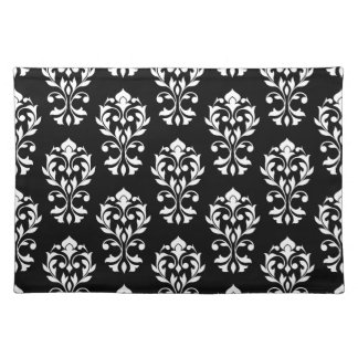 Heart Damask Ptn II White on Black Placemat