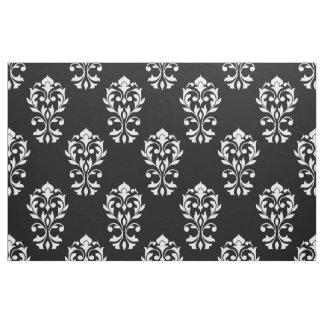 Heart Damask Ptn White on Black Fabric