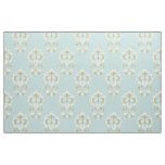 Heart Damask Rpt Ptn Cream & Gold on Blue Fabric