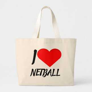 Heart Design I Love Netball Large Tote Bag