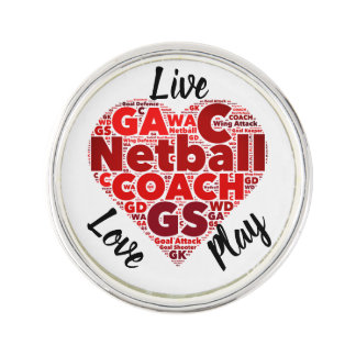 Heart Design Inspirational Netball Coach Lapel Pin