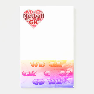 Heart Design Love Netball Positions Post-it Notes
