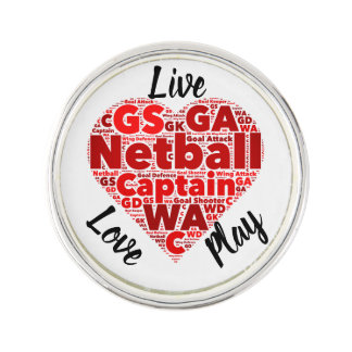 Heart Design Motivational Netball Captain Lapel Pin