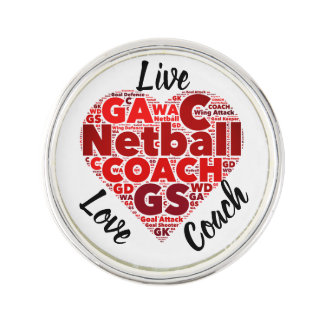 Heart Design Motivational Netball Coach Lapel Pin