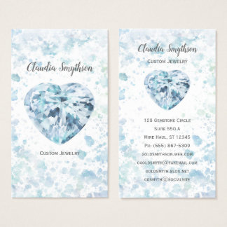 Heart Diamond Watercolor Business Cards