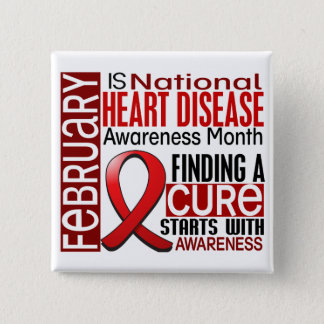 Heart Disease Awareness Month Ribbon I2.5 2 Inch Square Button
