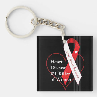 Heart Disease Awareness Single-Sided Square Acrylic Keychain