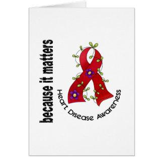 Heart Disease Flower Ribbon 3 Card