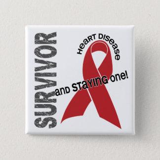 Heart Disease Survivor 2 Inch Square Button