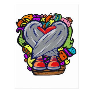 Heart Doodle Character Postcard