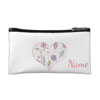 Heart Doodle Personalized Cosmetic Bag