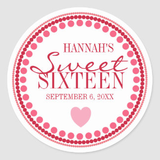 Heart & Dots Sweet 16 Red & Pink Custom Classic Round Sticker