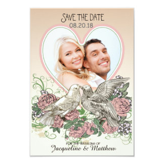 """Heart Doves Rose Pink Romance Photo Save the Date 3.5"""" X 5"""" Invitation Card"""