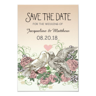 """Heart Doves Rose Pink Romance - Save the Date 3.5"""" X 5"""" Invitation Card"""