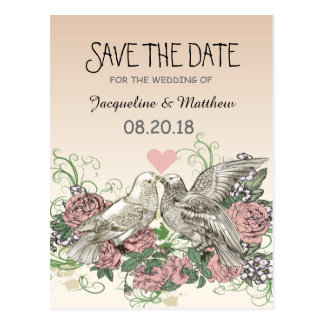 Heart Doves Rose Pink Romance - Save the Date Postcard