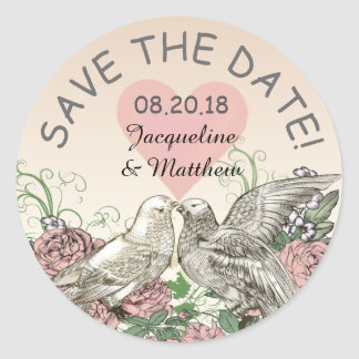 Heart Doves Rose Pink Romance Save the Date Round Sticker