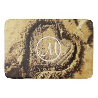 Heart drawn in golden sand photo custom monogram bath mat