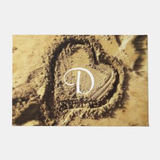 Heart drawn in golden sand photo custom monogram doormat