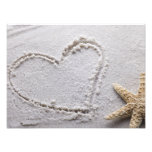 Heart Drawn in Sand at Beach w Starfish Template Photo