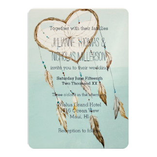 Heart Dream Catcher Wedding Card