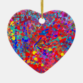 Heart, Drip Art Ceramic Ornament