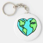 Heart Earth Basic Round Button Keychain