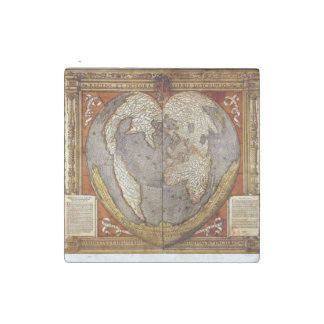 Heart Earth Map on Marble Stone Magnets