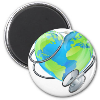 Heart Earth World Globe Stethoscope Health Concept 2 Inch Round Magnet