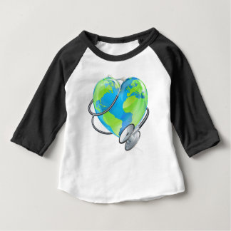 Heart Earth World Globe Stethoscope Health Concept Baby T-Shirt