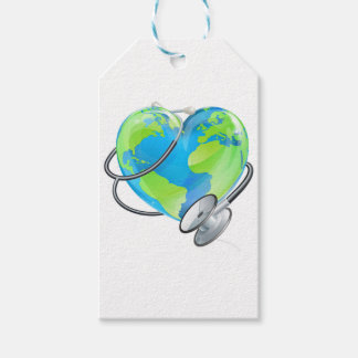 Heart Earth World Globe Stethoscope Health Concept Pack Of Gift Tags