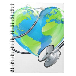 Heart Earth World Globe Stethoscope Health Concept Spiral Notebooks