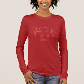 Heart EKG custom name & occupation clothing Long Sleeve T-Shirt