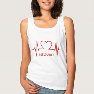 Heart EKG custom name & occupation clothing Tank Top