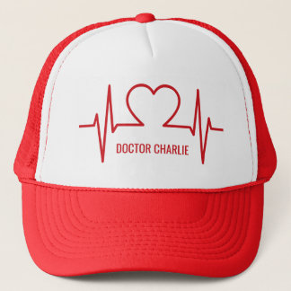 Heart EKG custom name & occupation hats