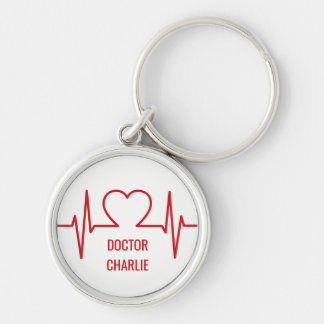 Heart EKG custom name & occupation key chains