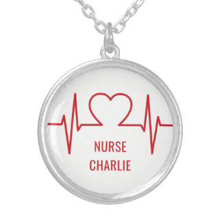 Heart EKG custom name & occupation necklace